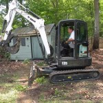 Bobcat E35 Cranie on lawn